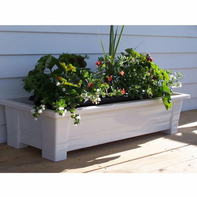 Garden planter white rectangular planter anglo american for Garden planters uk