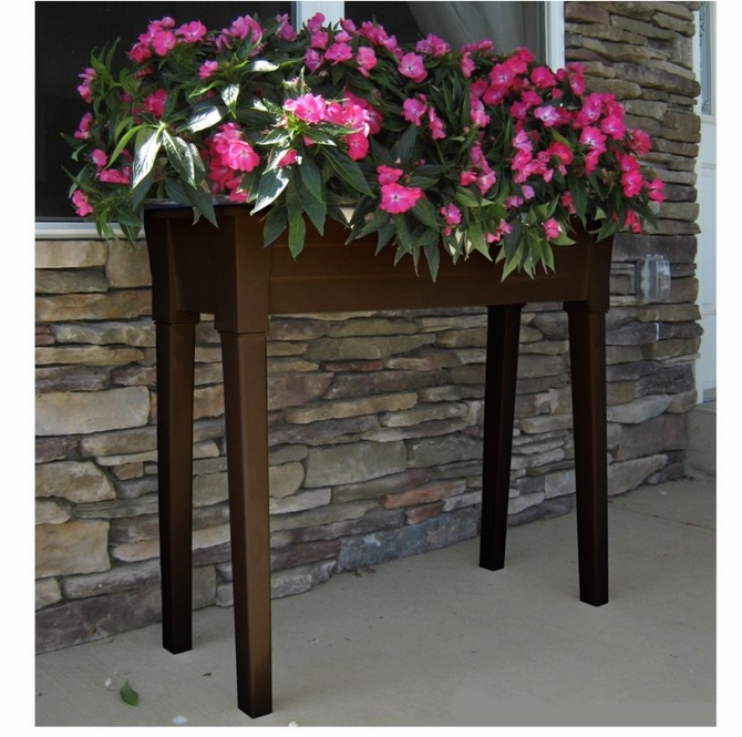 Adams Garden Planter With Legs In Earth Brown Is Made In The USA Of Prime  Polypropylene With A UV Inhibitor And Consists Of A Top Trough And 4 Legs.