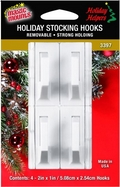 Removable Adhesive Stocking Hooks. 4ct. pack.