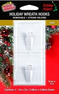 Removable Adhesive Wreath Hooks for Wood Grain Effect Composite UPVC Doors. 2ct pack. Clear, Green, White