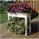 Garden Planter. Raised Planter with Legs and Shelf. White.