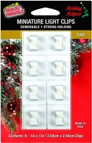 Removable Adhesive Mini Light Clips. 8ct pack.